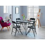 more details on HOME Quin Folding Table & 4 Folding Chairs - Black