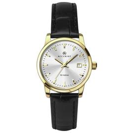 Accurist Ladies' Black Leather Strap Watch