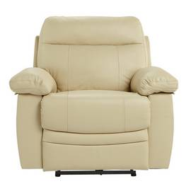 Argos Home Paolo Leather Mix Power Recliner Chair - Ivory