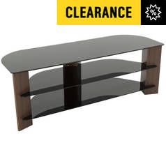 AVF Up to 65 Inch TV Stand - Black Glass and Walnut Effect
