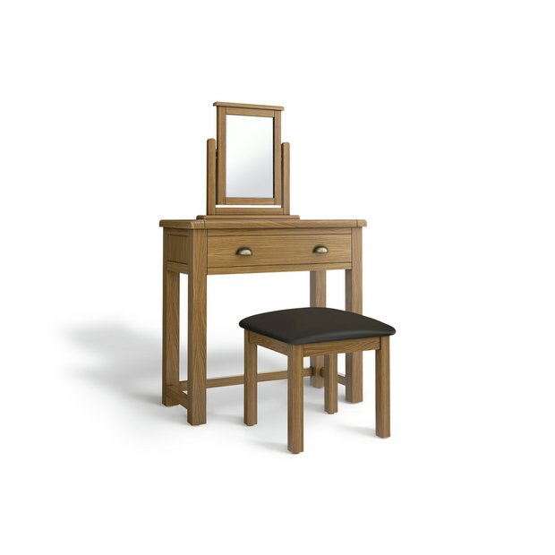 meet 4f37b 56bd7 Buy Argos Home Kent 1Drw Dressing Table, Stool, Mirror - Oak | Dressing  tables | Argos