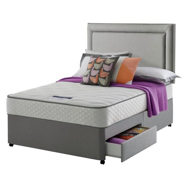 Buy silentnight levison 1000 memory double 2 drawer divan for Double divan with 4 drawers