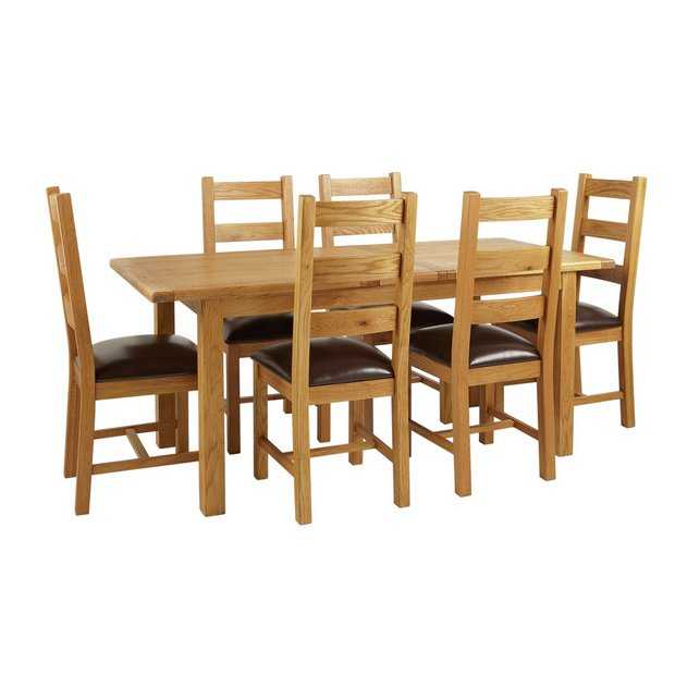 Buy Heart Of House Kent Oak Ext Table And 6 Farmhouse Chairs At Your Online Shop