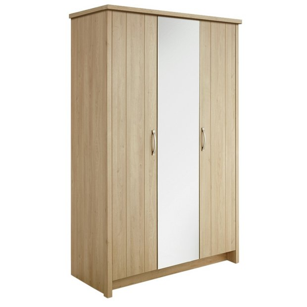 Buy Collection Truro 3 Door Mirrored Wardrobe Oak Effect At Your Online Shop For