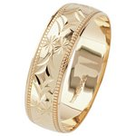 more details on 9ct Gold Diamond Cut 6mm Milgrain D-Shape Wedding Ring.