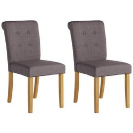 Argos Home Pair of Stroud Scroll Back Chairs - Charcoal