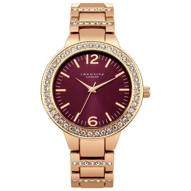 Buy Identity London Ladies Rose Gold Stone Set Bracelet Watch | Womens watches | Argos