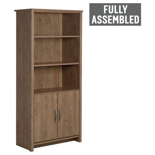 Buy collection truro 2 door bookcase walnut effect at your online shop for Walnut effect living room furniture