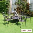 Europa Leisure Durango Fire Pit Table with 6 Malaga Chairs
