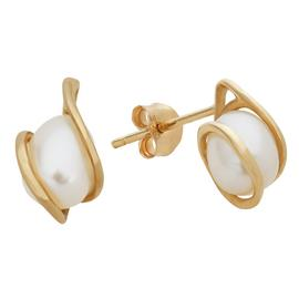 Revere 9ct Yellow Gold White Pearl Wrap Stud Earrings