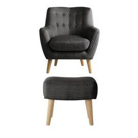 Argos Home Otis Fabric Accent Chair and Footstool - Charcoal