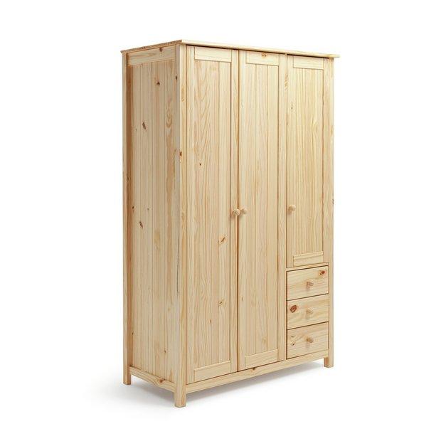 buy home new scandinavia 3 door 3 drawer wardrobe pine. Black Bedroom Furniture Sets. Home Design Ideas