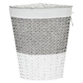 Argos Home 45 Litre Corner Rope Laundry Bin - Grey and White