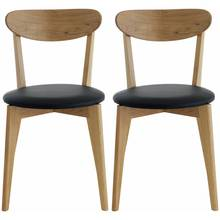 Habitat Sophie Pair Of Oak And Leather Dining Chairs