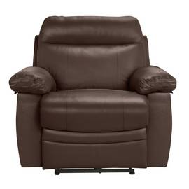 Argos Home Paolo Leather Mix Power Recliner Chair - Brown