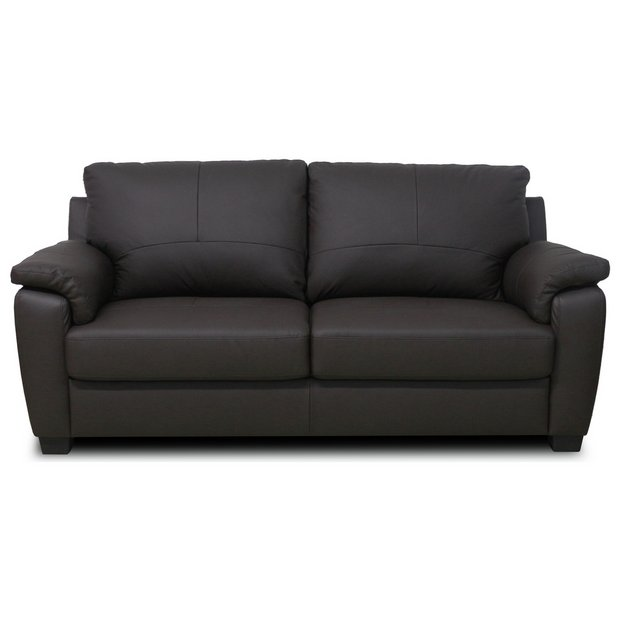 Buy Home Antonio 3 Seater Leather Sofa Chocolate At
