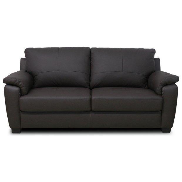 Buy Home Antonio 3 Seater Leather Sofa Chocolate At