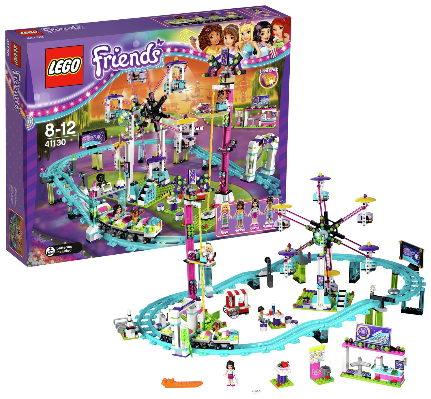 buy lego friends amusement roller coaster playset - 41130 at argos co uk