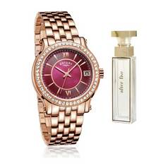 Rotary Ladies' Rose Gold Bracelet Watch and Perfume Set