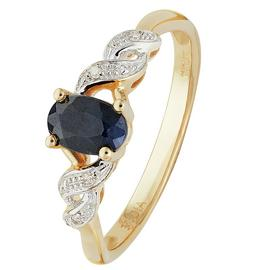 Revere 9ct Yellow Gold Oval Sapphire and Diamond Accent Ring
