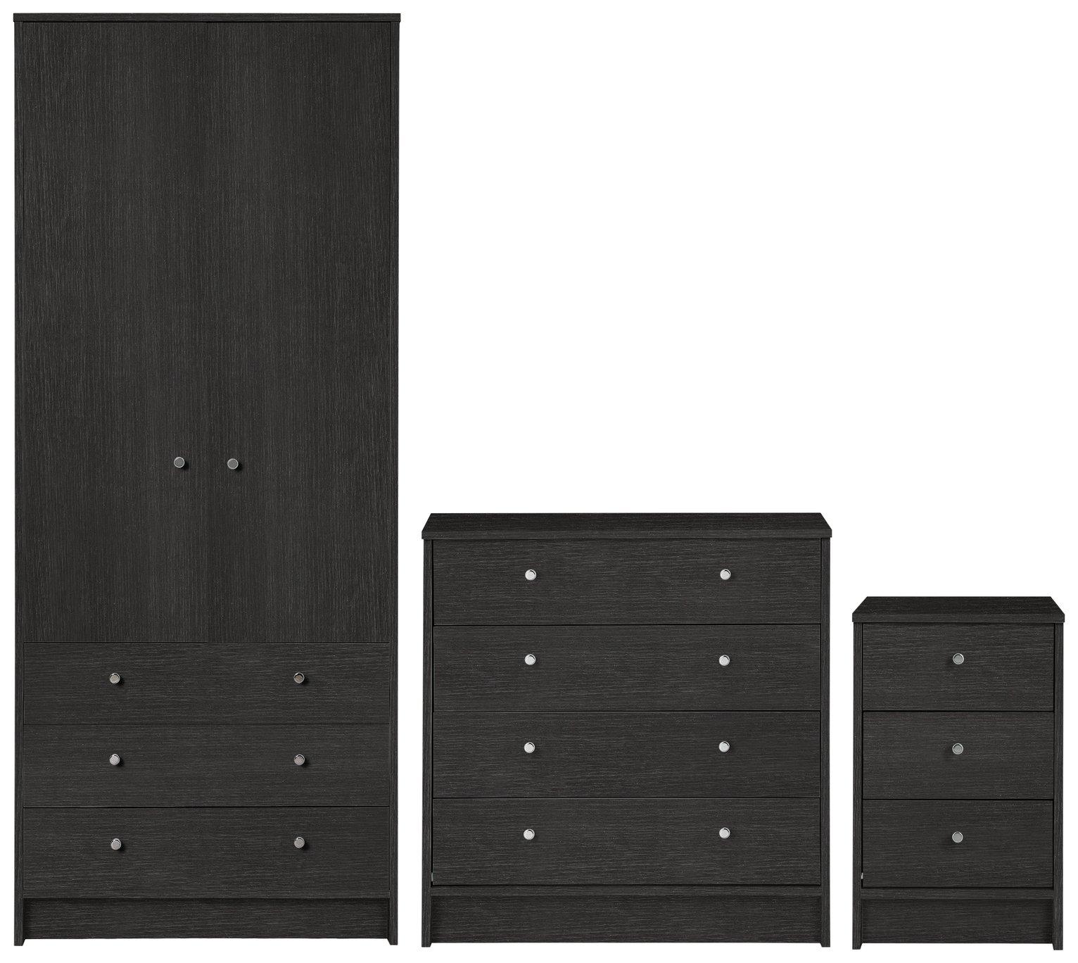 HOME New Malibu 3 Piece Bedroom Package   Black Oak Effect
