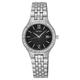 Seiko Ladies' Black Dial Stainless Steel Watch