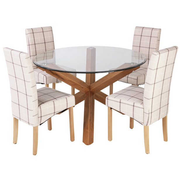 Argos Uk Dining Table And Chairs: Buy Heart Of House Oakington Round Glass Table & 4 Chairs