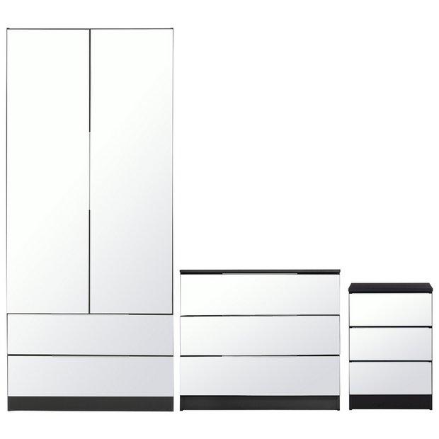 e091c87f9bc Buy Argos Home Sandon 3 Piece Bedroom Package - Black Mirror ...