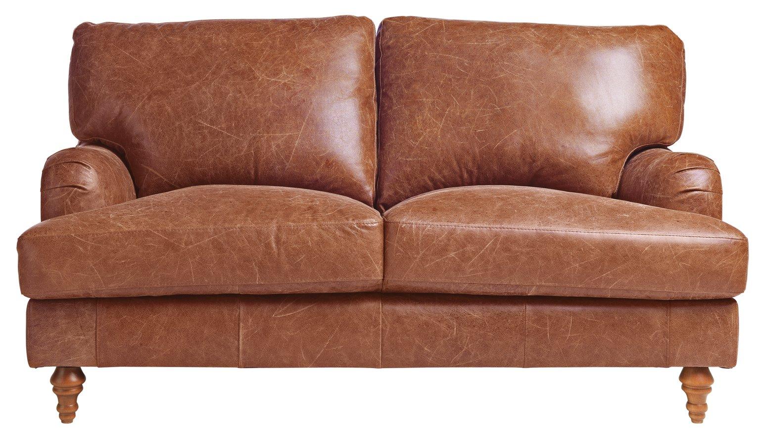 heart of house livingston 2 seater leather sofa tan