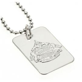 Silver Plated Sunderland Dog Tag & Ball Chain.