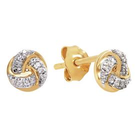 Revere 18ct Gold Plated Diamond Knot Stud Earrings