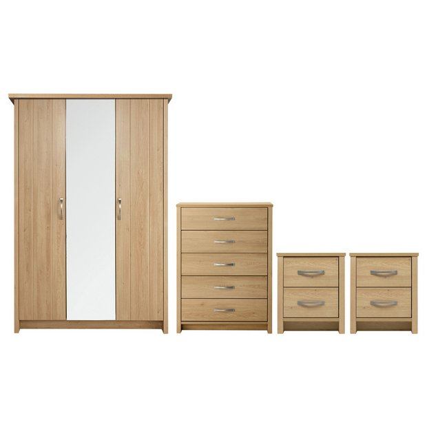buy collection truro 4 pc bedroom furniture package oak effect at your online. Black Bedroom Furniture Sets. Home Design Ideas
