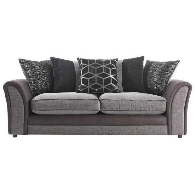 Buy Collection Rhiannon Compact 3 Seater Sofa Black