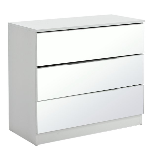 new style 3f9c6 34029 Buy Argos Home Sandon 3 Drawer Chest - White and Mirrored   Chest of  drawers   Argos