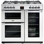 more details on Belling Cookcentre 90DFT Dual Fuel Range Cooker - St Steel.