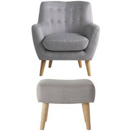 Argos Home Otis Fabric Accent Chair & Footstool - Light Grey