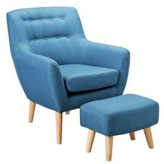 Hygena Otis Fabric Chair and Footstool - Blue
