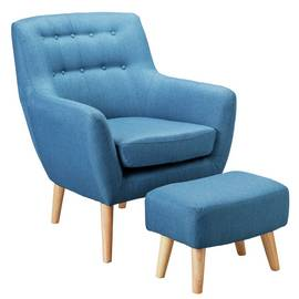 Argos Home Otis Fabric Accent Chair and Footstool - Blue
