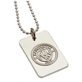 Silver Plated Manchester City Dog Tag & Ball Chain