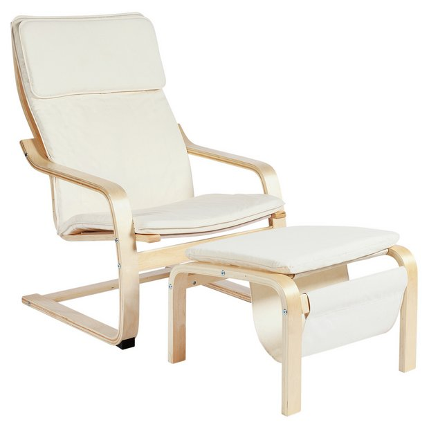 Buy Home Bentwood Fabric Chair And Footstool Natural At