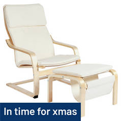 Argos Home Bentwood Fabric Chair and Footstool - Natural