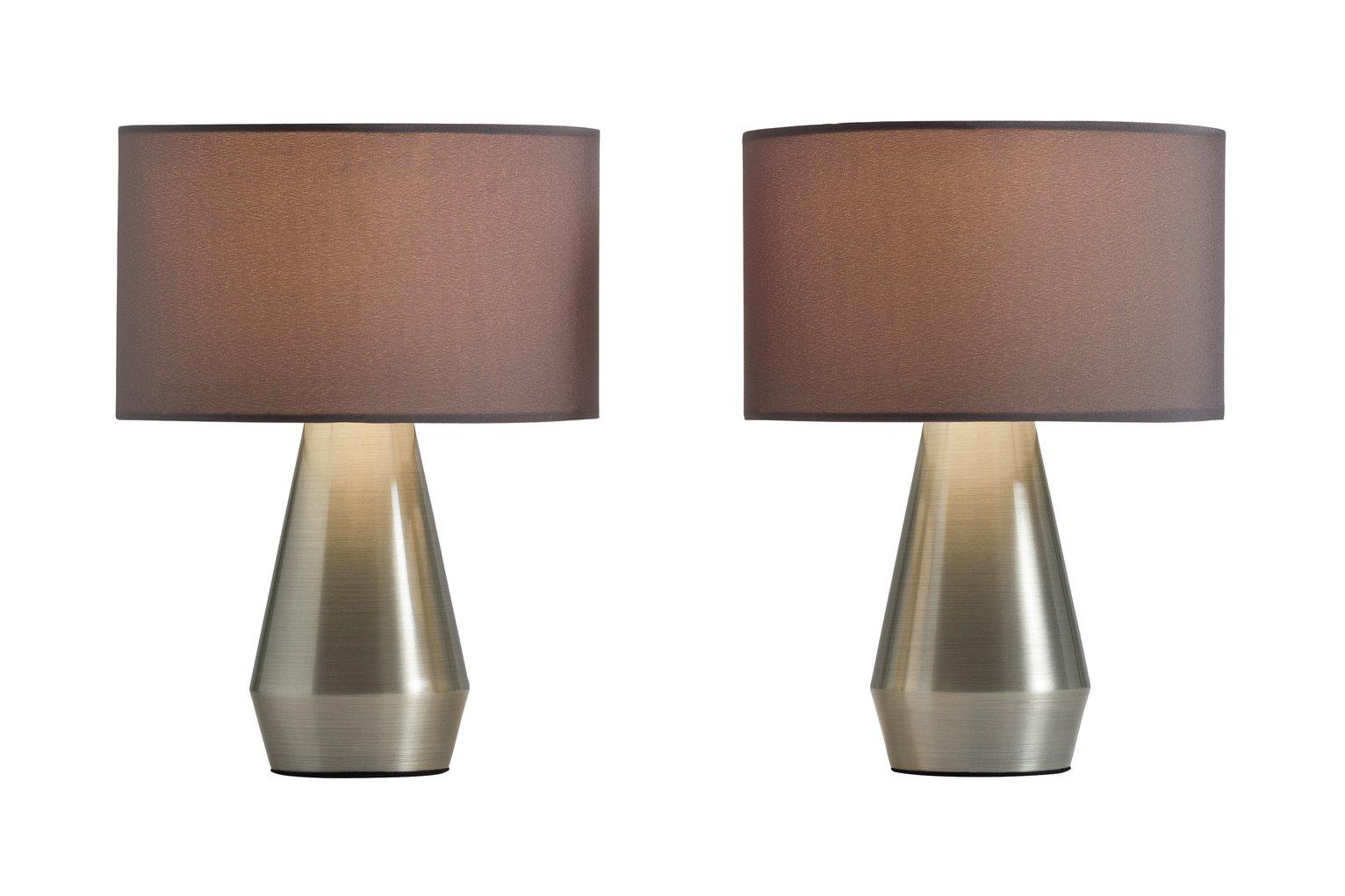 Habitat Pair Of Maya Table Touch Lamps   Grey