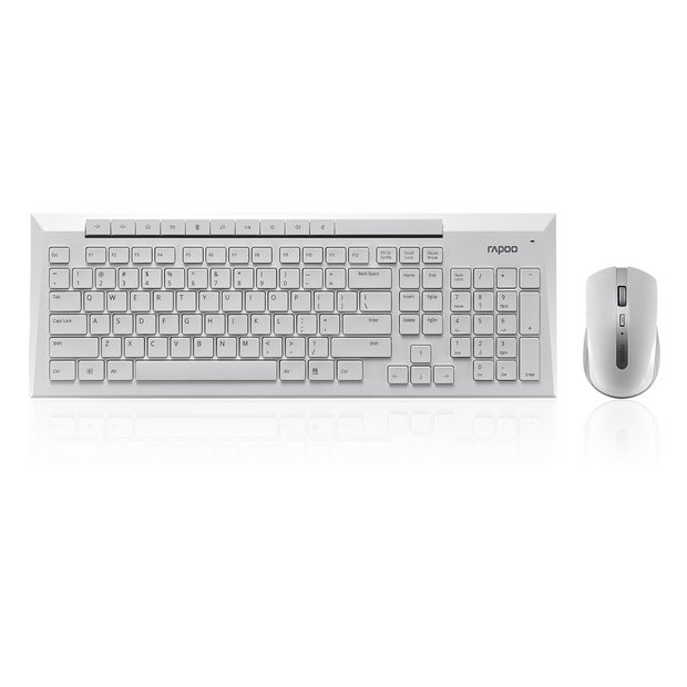 buy rapoo 8200p wireless keyboard and mouse white at your online shop for pc. Black Bedroom Furniture Sets. Home Design Ideas
