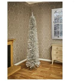 Premier Decorations 6ft Pencil Pine Christmas Tree -Silver