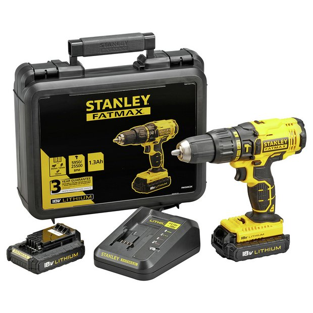 buy stanley fatmax cordless hammer drill with 2 18v. Black Bedroom Furniture Sets. Home Design Ideas