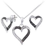 more details on Sterling Silver Black Diamond Earring Pendant Set.