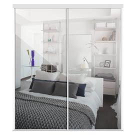 Sliding Doors and track W1793 White Frame Mirror