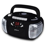 more details on Groov-e Retro Boombox CD/Cassette Player with Radio - Black.