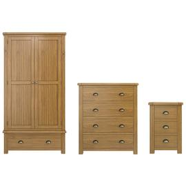 Argos Home Kent 3 Piece 2 Door Wardrobe Set -Oak/ Oak Veneer