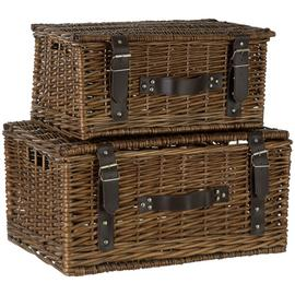 Premier Housewares Set of 2 Willow Leather Baskets -Natural